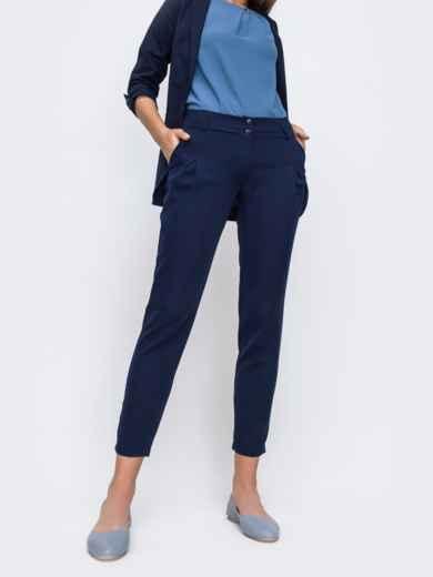 Укороченные брюки с карманами по бокам тёмно-синие 49638, фото 1