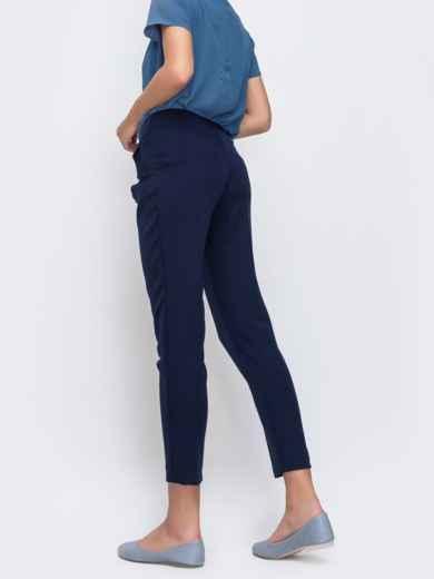 Укороченные брюки с карманами по бокам тёмно-синие 49638, фото 2