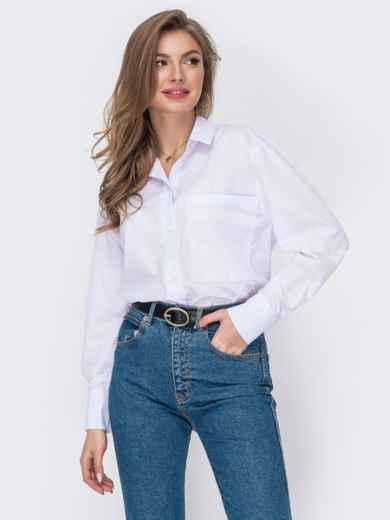 Белая рубашка из хлопка с накладным карманом 53439, фото 1