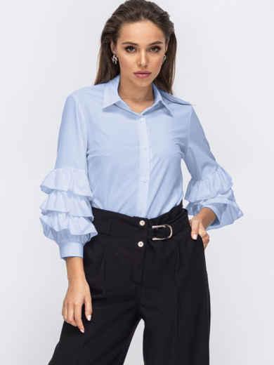Голубая блузка с воланами на рукавах 54029, фото 1