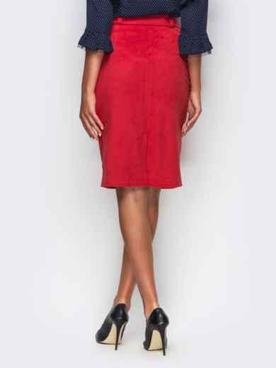 Краснаяя замшевая юбка-футляр с карманами на полочке - 12156, фото 3 – интернет-магазин Dressa