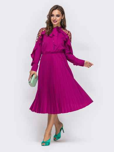 Малиновое платье с воротником-аскот и юбкой-плиссе 42826, фото 2