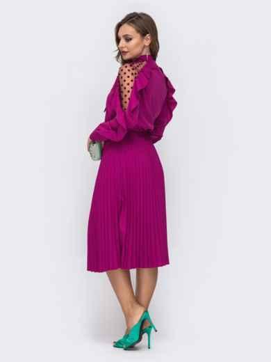 Малиновое платье с воротником-аскот и юбкой-плиссе 42826, фото 3