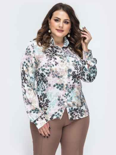 Молочная блузка батал с цветочным принтом 45102, фото 1