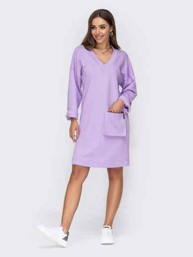 Платье с V-образным вырезом горловины фиолетовое 53440, фото 1