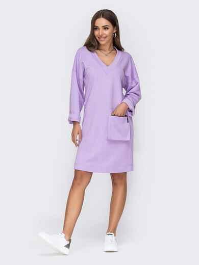 Платье с V-образным вырезом горловины сиреневое 53440, фото 1