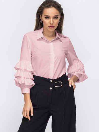 Пудровая блузка с воланами на рукавах 54030, фото 1