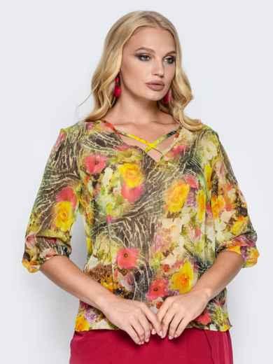2a600a05d31 Шифоновая блузка с резинкой на манжетах желтая 14162 – купить в ...