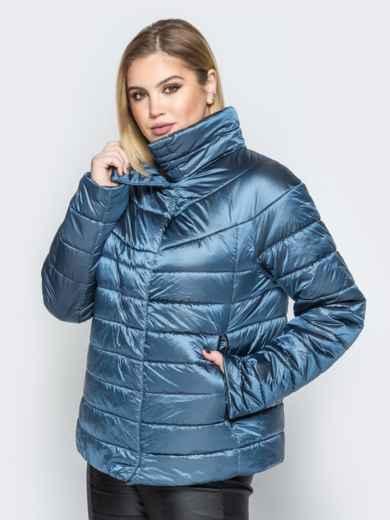 Синяя куртка с высоким воротником и полукруглой кокеткой - 20317, фото 2 – интернет-магазин Dressa