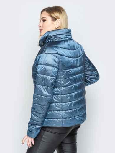 Синяя куртка с высоким воротником и полукруглой кокеткой - 20317, фото 3 – интернет-магазин Dressa