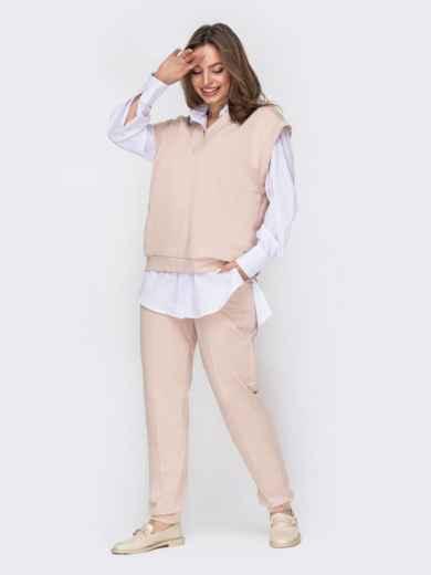 Трикотажный костюм из жилета oversize и штанов бежевый 53441, фото 1