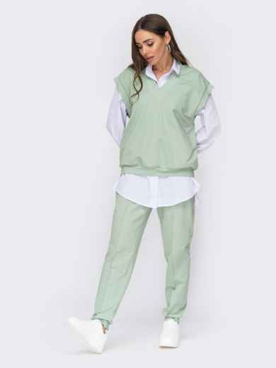Трикотажный костюм из жилета oversize и штанов зеленый 53442, фото 1