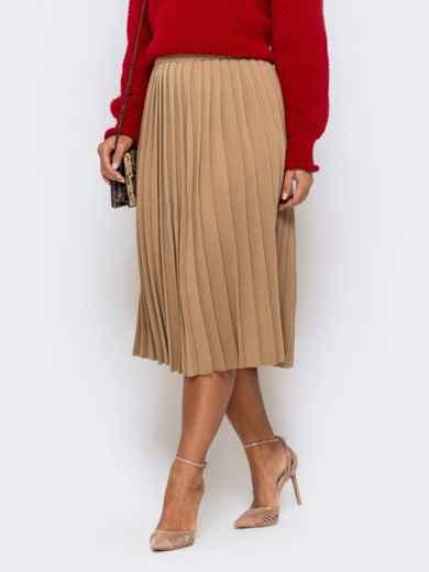 Вязаная юбка-плиссе бежевого цвета 41191, фото 1