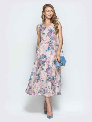 Платье-миди с принтом и расклешенной юбкой пудровое 54218, фото 1