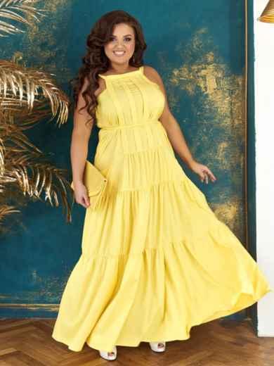 Длинное платье батал желтого цвета с многоярусной юбкой 48718, фото 1