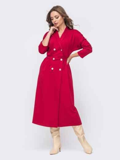 """Двубортное платье-пиджак с рукавом """"летучая мышь"""" красное 51557, фото 1"""