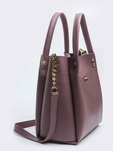 Глянцевая сумка-тоут с цепочкой на ремешке лиловая - 20551, фото 3 – интернет-магазин Dressa