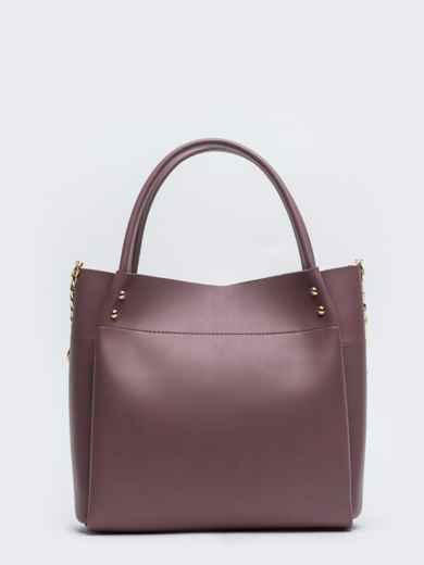 Глянцевая сумка-тоут с цепочкой на ремешке лиловая - 20551, фото 4 – интернет-магазин Dressa