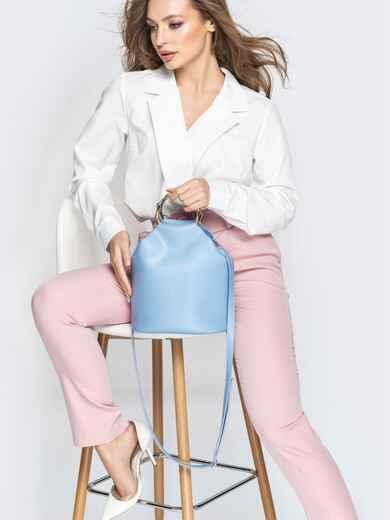 Голубая сумка-торба с металлическими ручками и ремешком - 20567, фото 1 – интернет-магазин Dressa