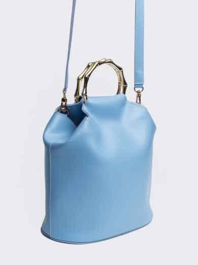 Голубая сумка-торба с металлическими ручками и ремешком - 20567, фото 2 – интернет-магазин Dressa