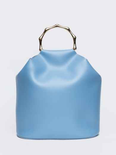 Голубая сумка-торба с металлическими ручками и ремешком - 20567, фото 3 – интернет-магазин Dressa