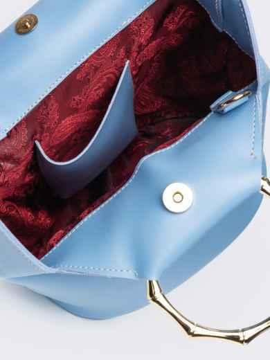 Голубая сумка-торба с металлическими ручками и ремешком - 20567, фото 4 – интернет-магазин Dressa