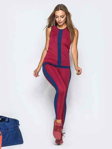 Комплект для фитнеса бордового цвета с контрастными лампасами - 17150, фото 1 – интернет-магазин Dressa