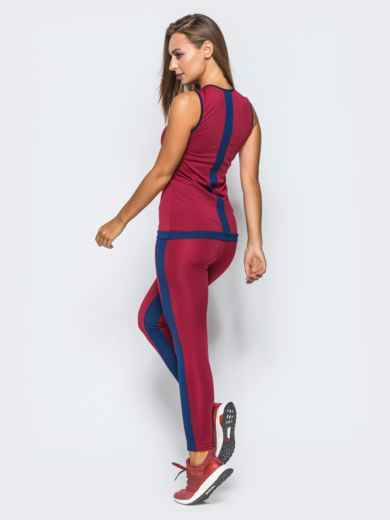 Комплект для фитнеса бордового цвета с контрастными лампасами - 17150, фото 3 – интернет-магазин Dressa