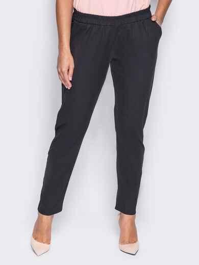 Льняные брюки с резинкой на поясе - 14419, фото 2 – интернет-магазин Dressa