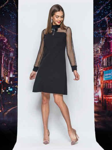 Платье А-силуэта с рукавами из фатина черное - 17920, фото 2 – интернет-магазин Dressa