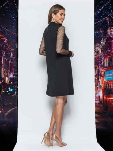 Платье А-силуэта с рукавами из фатина черное - 17920, фото 3 – интернет-магазин Dressa