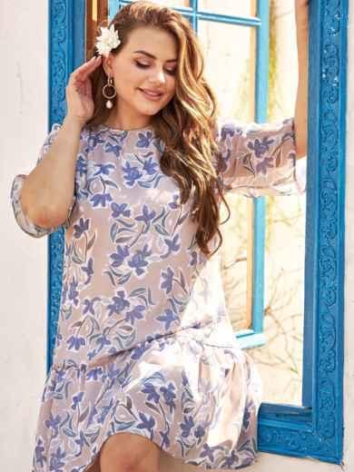 Платье-трапеция батал из шифона с принтом бежевое 54396, фото 1