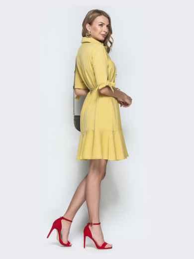 Приталенное платье из льна с оборкой по низу желтое - 39553, фото 2 – интернет-магазин Dressa