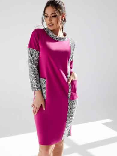 Розовое платье батал с карманами на полочке 53186, фото 1