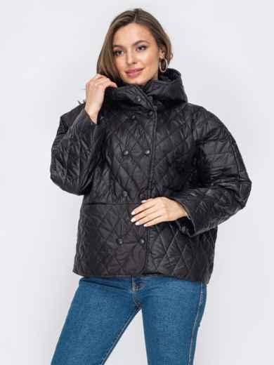 Стеганая куртка черного цвета с капюшоном 53213, фото 1