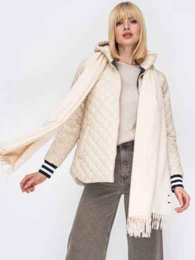 Стеганая куртка с трикотажными манжетами бежевая 53212, фото 1