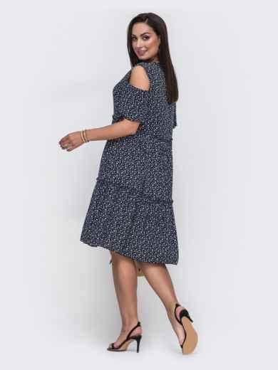Тёмно-синее платье батал с принтом и открытыми плечами 49588, фото 2