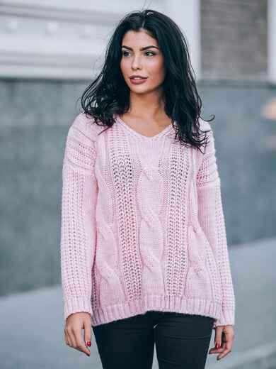 Вязаная туника со спущенным плечом нежно-розовая - 13180, фото 1 – интернет-магазин Dressa