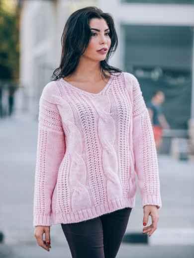 Вязаная туника со спущенным плечом нежно-розовая - 13180, фото 2 – интернет-магазин Dressa