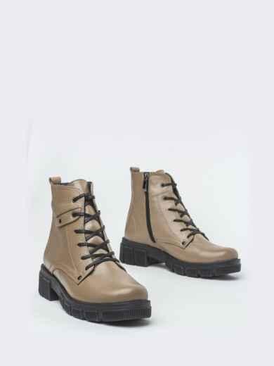 Зимние ботинки из кожи бежевого цвета на молнии - 41665, фото 2 – интернет-магазин Dressa