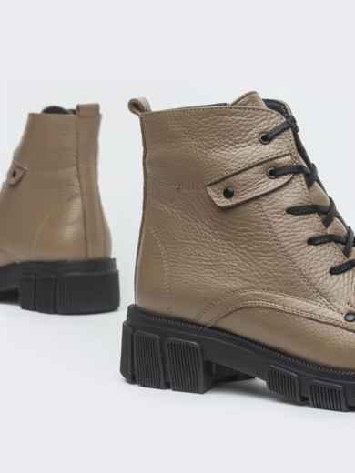 Зимние ботинки из кожи бежевого цвета на молнии - 41665, фото 3 – интернет-магазин Dressa