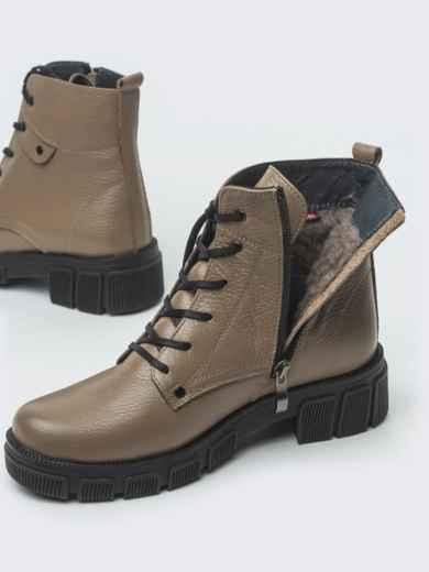 Зимние ботинки из кожи бежевого цвета на молнии - 41665, фото 4 – интернет-магазин Dressa