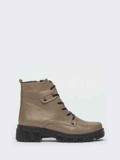 Зимние ботинки из кожи бежевого цвета на молнии - 41665, фото 5 – интернет-магазин Dressa