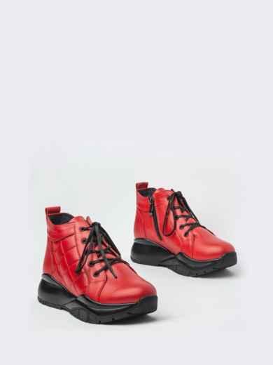 Зимние ботинки из натуральной кожи на толстой подошве красные - 41670, фото 2 – интернет-магазин Dressa