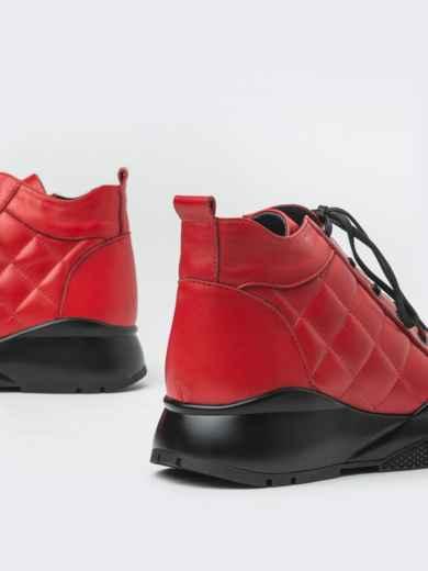 Зимние ботинки из натуральной кожи на толстой подошве красные - 41670, фото 3 – интернет-магазин Dressa