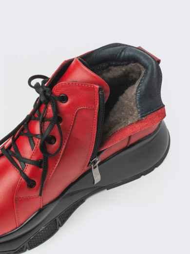 Зимние ботинки из натуральной кожи на толстой подошве красные - 41670, фото 4 – интернет-магазин Dressa