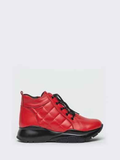 Зимние ботинки из натуральной кожи на толстой подошве красные - 41670, фото 5 – интернет-магазин Dressa