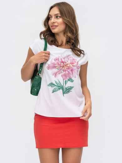 Белая блузка с принтом «пион» на полочке 54168, фото 1