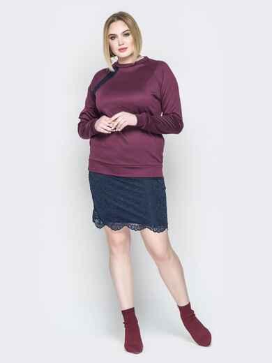 Бордовое платье с имитацией свитшота и юбки 19958, фото 1
