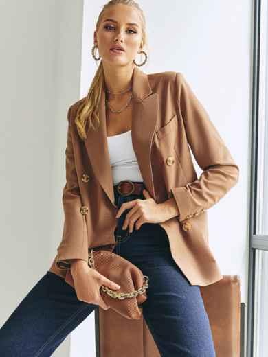 Двубортный пиджак из костюмной ткани коричневого цвета 54659, фото 1